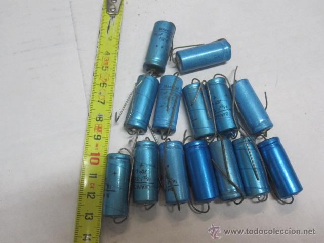LIQUIDACION 14 CONDENDASORES ELECTROLITICOS BIANCHI 16 MICROF 16 VOLTIOS SIN USO (Radios, Gramófonos, Grabadoras y Otros - Repuestos y Lámparas a Válvulas)