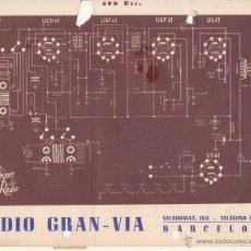 Radios antiguas: ORIGINAL RADIO GRAN VIA BARCELONA ESQUEMA TECNICO ESKREIBSON RADIO VALVULAS 490 KCS. Lote 48222853