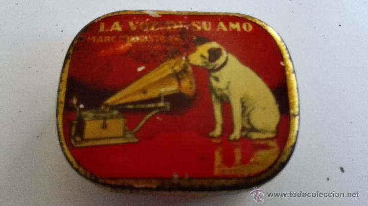 CAJA CHAPA AGUJAS, LA VOZ DE SU AMO, COMPAÑIA DEL GRAMOFONO BARCELONA (Radios, Gramófonos, Grabadoras y Otros - Repuestos y Lámparas a Válvulas)