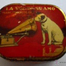 Radios antiguas: CAJA CHAPA AGUJAS, LA VOZ DE SU AMO, COMPAÑIA DEL GRAMOFONO BARCELONA. Lote 50082437