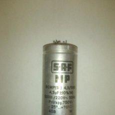 Radios antiguas: CONDENSADOR ELECTROLÍTICO 4,3 MICROFARADIOS 220 V ALTERNA SAF - OK CAPAC Y ESR. Lote 109463400