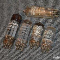 Radios antiguas: LOTE DE 4 VÁLVULAS, ECL82, EZ80, ECC83, Y EF86 Y OJO MÁGICO EM84 - PHILIPS MINIWATT - HAZ OFERTA. Lote 111816951