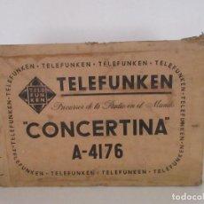 Radios antiguas: CURIOSA CAJA DE CARTÓN, EMBALAJE ANTIGUA - RADIO TELEFUNKEN CONCERTINA A - 4176 - AÑOS 50. Lote 142375050