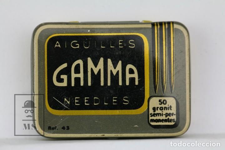 CAJA METÁLICA DE AGUJAS GRAMÓFONO - GAMMA NEEDLES - REF. 43 - MADE IN SWISS / SUIZA - CON AGUJAS (Radios, Gramófonos, Grabadoras y Otros - Repuestos y Lámparas a Válvulas)