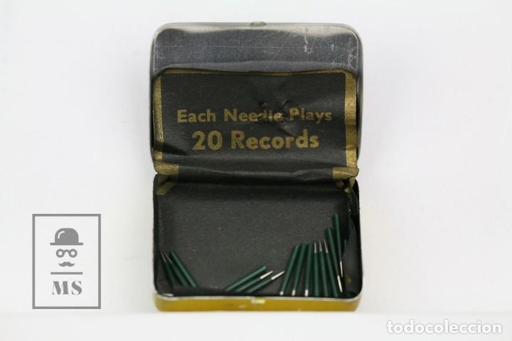 Radios antiguas: Caja Metálica De Agujas Gramófono - Gamma Needles - Ref. 43 - Made In Swiss / Suiza - Con Agujas - Foto 2 - 134735670