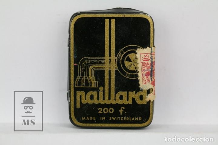 CAJA METÁLICA DE AGUJAS GRAMÓFONO - PAILLARD - MADE IN SWITZERLAND / SUIZA - CON AGUJAS (Radios, Gramófonos, Grabadoras y Otros - Repuestos y Lámparas a Válvulas)