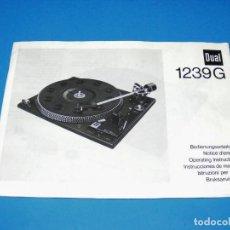 Radios antiguas: MANUAL DE INSTRUCCIONES PARA TOCADISCOS DUAL 1239G - ORIGINAL. Lote 162953578