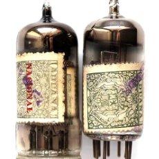 Radios antiguas: 2 VÁLVULAS DE VACÍO CON SELLO DE ADUANA. Lote 168393104