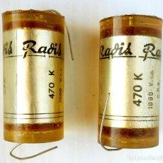 Radios antiguas: COMPONENTES ELECTRÓNICOS ANTIGUOS. 2 CONDENSADORES RADIS. Lote 177076498