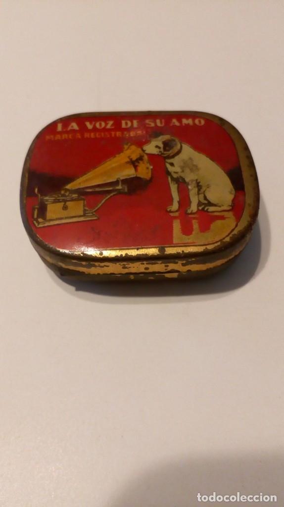 Radios antiguas: Antigua cajita de agujas de gramófono ´La Voz de su Amo´ - Foto 6 - 179066157