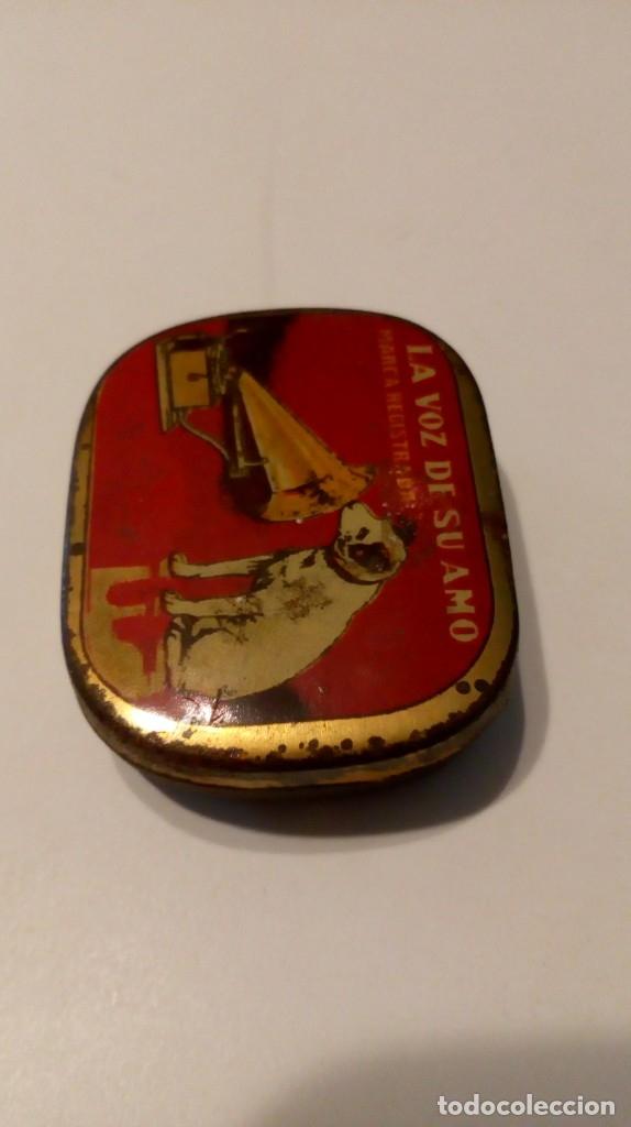 Radios antiguas: Antigua cajita de agujas de gramófono ´La Voz de su Amo´ - Foto 7 - 179066157