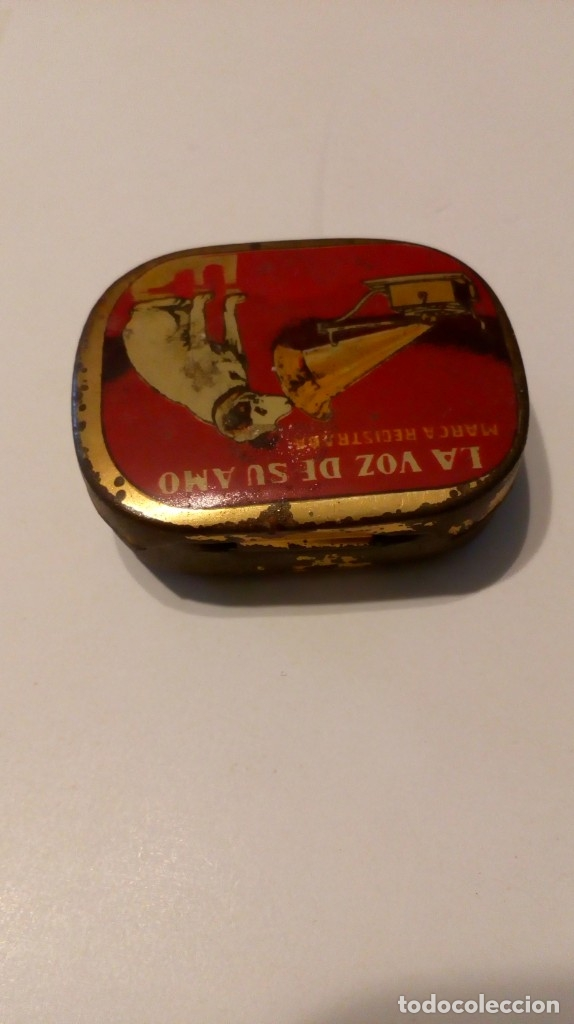 Radios antiguas: Antigua cajita de agujas de gramófono ´La Voz de su Amo´ - Foto 8 - 179066157