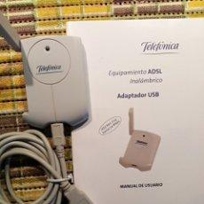 Radios antiguas: EQUIPAMIENTO ADSL INALÁMBRICO DE TELEFÓNICA, CON CABLE A USB Y CABLE CARGADOR A CORRIENTE. Lote 180042050