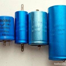 Radios antiguas: COMPONENTES ELECTRÓNICOS ANTIGUOS. 4 CONDENSADORES. Lote 181958847