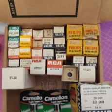 Radios antiguas: LOTE DE 29 VÁLVULAS DE VACÍO Y 2 PILAS 2R10 - NOS - TESTADAS - REFERENCIAS EN LAS FOTOS. Lote 184707673