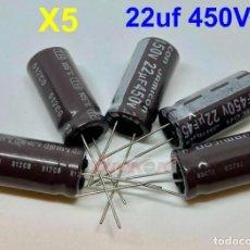 Rádios antigos: X5 22UF 450V CONDENSADOR ELECTROLITICO (26,5 X 12 MM.) JAMICON CAPACITOR. Lote 198862542
