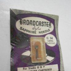 Radios antiguas: ANTIGUA AGUJA PARA PICK UP O TOCADISCOS NUEVA EN SU BLISTER BROADCASTER SAPPHIRE NEEDLE C 54. Lote 207034018