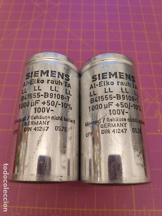 2 UNIDADES CONDENSADOR ELECTROLÍTICO 1000 MICROFARADIOS 100V - SIEMENS - NOS (Radios, Gramófonos, Grabadoras y Otros - Repuestos y Lámparas a Válvulas)