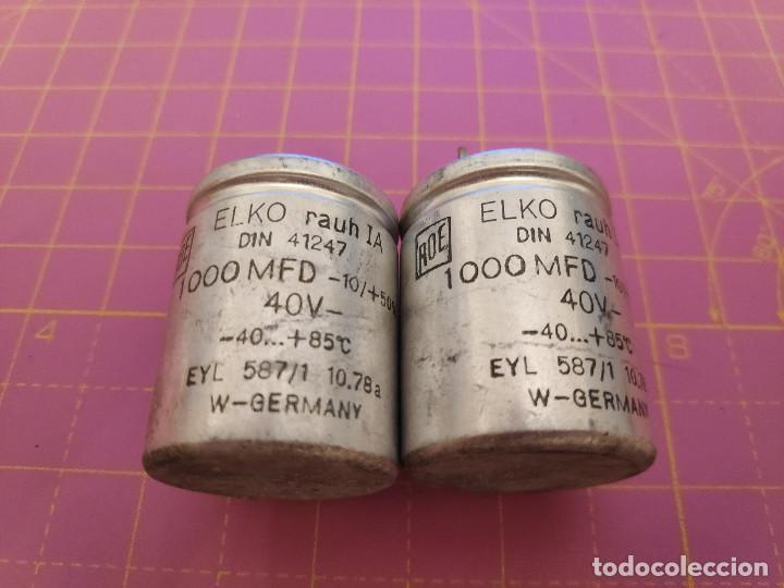2 UNIDADES CONDENSADOR ELECTROLÍTICO 1000 MICROFARADIOS 40V - ROE - NOS (Radios, Gramófonos, Grabadoras y Otros - Repuestos y Lámparas a Válvulas)