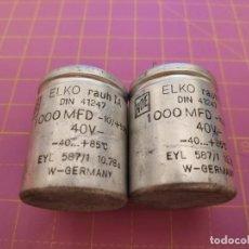 Radios antiguas: 2 UNIDADES CONDENSADOR ELECTROLÍTICO 1000 MICROFARADIOS 40V - ROE - NOS. Lote 217500195