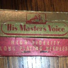 Radios antiguas: SOBRE AGUJAS DE GRAMÓFONO HIS MASTER'S VOICE. Lote 220866762