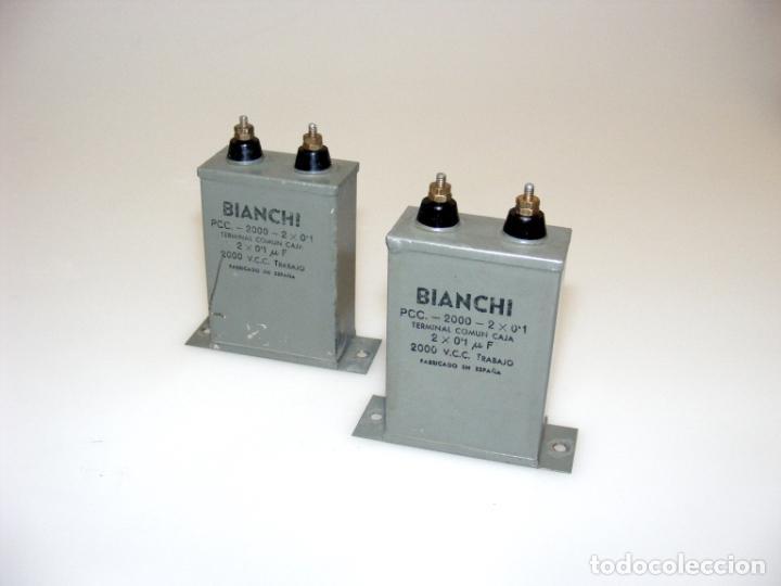 2 ANTIGUOS CONDENSADORES DOBLES, BIANCHI - 2 X 0,1 MF, 2000V. - USADOS - COMPROBADOS. (Radios, Gramófonos, Grabadoras y Otros - Repuestos y Lámparas a Válvulas)