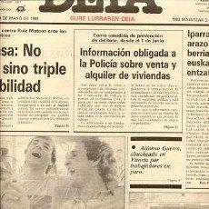 Coleccionismo deportivo: PERIODICO DEIA / 3 MAYO1983 / HOY LLEGAN A EUZKADI //// ATLETIC DE BILBAO CAMPEON DE LIGA DE FUTBOL. Lote 22491553