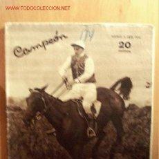 Coleccionismo deportivo: CAMPEÓN, REVISTA DE DEPORTES Nº 174. 5 DE ABRIL DE 1936.. Lote 21616986