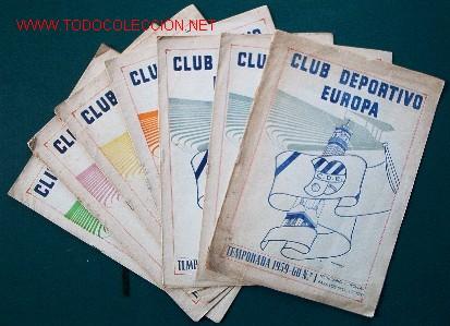 7 REVISTAS CLUB DEPORTIVO EUROPA - TEMPORADA 1959-60 (Coleccionismo Deportivo - Revistas y Periódicos - otros Fútbol)