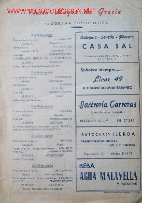 Coleccionismo deportivo: 7 Revistas CLUB DEPORTIVO EUROPA - Temporada 1959-60 - Foto 5 - 26299783