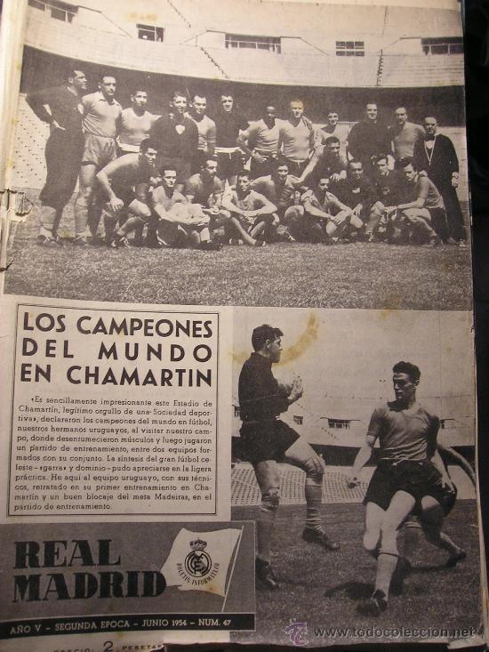 REVISTA REAL MADRID NUMERO 47 JUNIO 1954 LOS CAMPEONES DEL MUNDO (Coleccionismo Deportivo - Revistas y Periódicos - otros Fútbol)