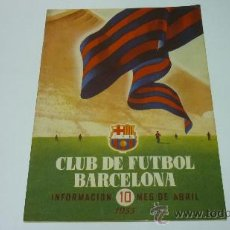 Coleccionismo deportivo: CF BARCELONA. BARÇA. INFORMACIÓN. Nº 10. MES DE ABRIL DE 1955. Lote 19964040