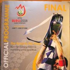 Coleccionismo deportivo: PROGRAMA OFICIAL UEFA FASE FINAL EUROCOPA 2008 130 PAGINAS A TODO COLOR. Lote 26214610