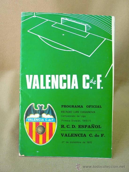 REVISTA, PROGRAMA OFICIAL, VALENCIA, ESPAÑOL, 1970 - 1971 (Coleccionismo Deportivo - Revistas y Periódicos - otros Fútbol)