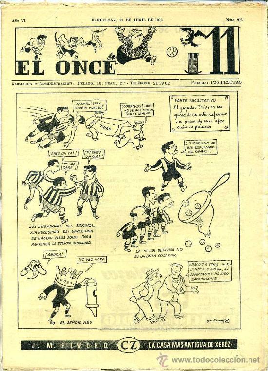 EL ONCE Nº 275 - 25 ABRIL 1950 (Coleccionismo Deportivo - Revistas y Periódicos - otros Fútbol)