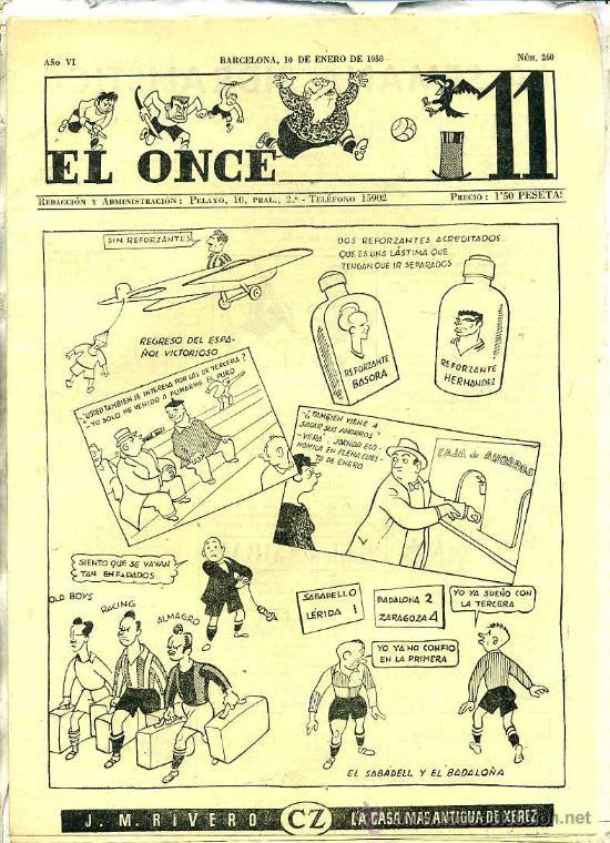 EL ONCE Nº 260 - 10 ENERO 1950 (Coleccionismo Deportivo - Revistas y Periódicos - otros Fútbol)