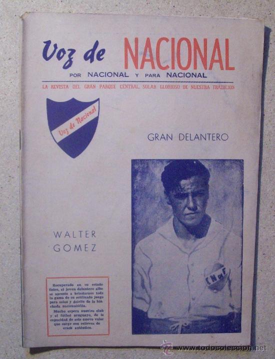 1946 REVISTA VOZ DE NACIONAL, FUTBOL URUGUAY. MAGAZINE FOOTBALL N° 26 - WALTER GOMEZ (Coleccionismo Deportivo - Revistas y Periódicos - otros Fútbol)