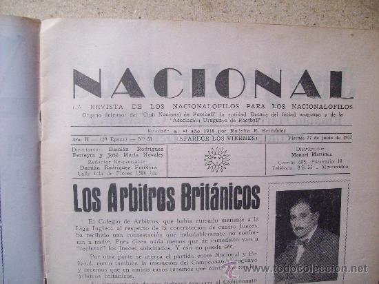 Coleccionismo deportivo: 1952 REVISTA CLUB NACIONAL DE FOOTBALL, FUTBOL URUGUAY. MAGAZINE N° 51 - WALDEMAR GONZALEZ - Foto 3 - 26575655