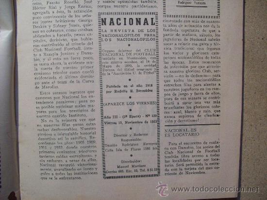 Coleccionismo deportivo: 1953 REVISTA CLUB NACIONAL DE FOOTBALL, FUTBOL URUGUAY. MAGAZINE N° 120 - WALDEMAR GONZALEZ - Foto 3 - 26625761