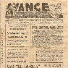 Coleccionismo deportivo: AVANCE QUINIELISTA VALENCIA 21 DE DICIEMBRE 1952 - 16 X 21 CM. - 4 PÁGINAS. Lote 26827532
