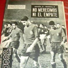 Coleccionismo deportivo: DICEN: 11 DE ENERO DE 1963- ESPAÑA-FRANCIA EN EL CAMP NOU.-DEBUT DE SADURNI.(FOTOS).. Lote 44642987
