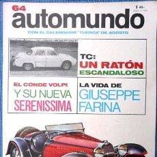 Coleccionismo deportivo: AUTOMUNDO # 64 AÑO 1966 BUGATTI TYPE 55 1931 EDITORIAL CODEX 42 PAG 26 CM X 35 CM NUEVA. Lote 27205152