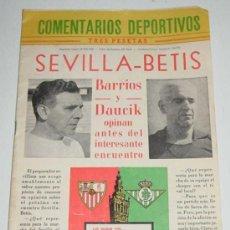 Coleccionismo deportivo: ANTIGUA REVISTA COMENTARIOS DEPORTIVOS - ENCUENTRO SEVILLA & BETIS EL DIA 8 DE OCTUBRE DE 1961 - FUT. Lote 27488175