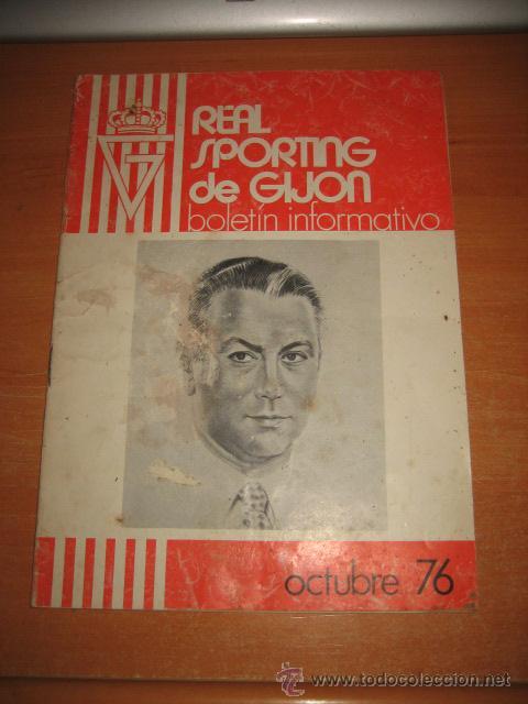 REAL SPORTING DE GIJON BOLETIN INFORMATIVO OCTUBRE 1976 PORTADA JOSE Mª FDZ ALVAREZ (Coleccionismo Deportivo - Revistas y Periódicos - otros Fútbol)