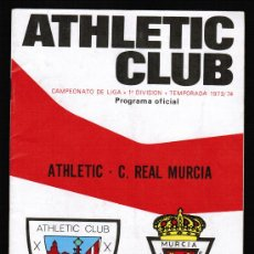 Collezionismo sportivo: FUTBOL - PROGRAMA OFICIAL CAMPEONATO DE LIGA 1973-74. Nº 61 , ATHLETIC-C. REAL MURCIA. Lote 28922159