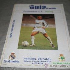 Coleccionismo deportivo: PROGRAMA FÚTBOL R. MADRID - RACING TEMPORADA 00-01. Lote 30214539