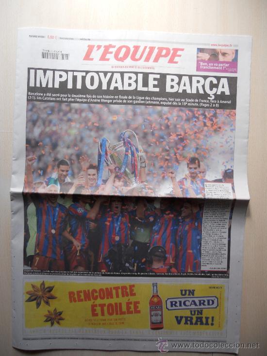 PERIODICO L´EQUIPE. FC BARCELONA CAMPEON CHAMPIONS LEAGUE 2006. BARÇA (Coleccionismo Deportivo - Revistas y Periódicos - otros Fútbol)