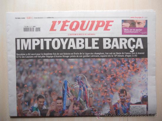 Coleccionismo deportivo: PERIODICO L´EQUIPE. FC BARCELONA CAMPEON CHAMPIONS LEAGUE 2006. BARÇA - Foto 2 - 54269563