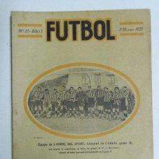 Coleccionismo deportivo: ANTIGUA REVISTA FUTBOL, Nº 65, AÑO 3, 8 DE MARZO 1921, EN PORTADA EL BARCELONA F.C., 10 PAG., MIDE 2. Lote 31721045