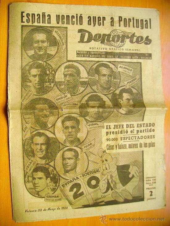 DEPORTES Nº338- 22/3/48- I GRAN PREMIO VALENCIA DE MOTOCICLISMO-BARCELONA-SELECCIÓN ESPAÑOLA FUTBOL (Coleccionismo Deportivo - Revistas y Periódicos - otros Fútbol)